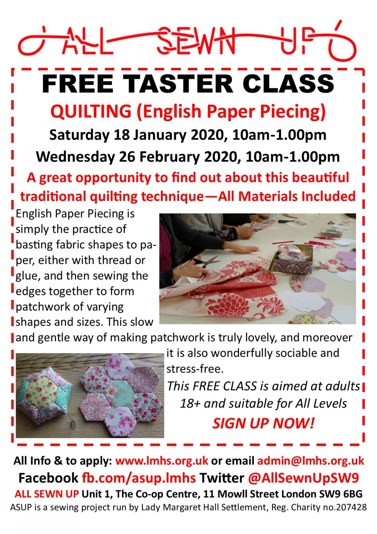 FREE QUILTING TASTER CLASS Saturday 18 Jan 2020