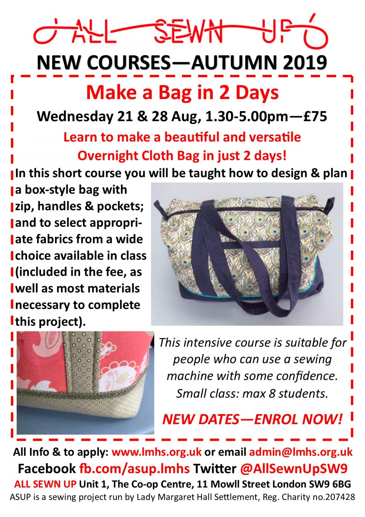 New dates for Make a Bag sewing course in August!