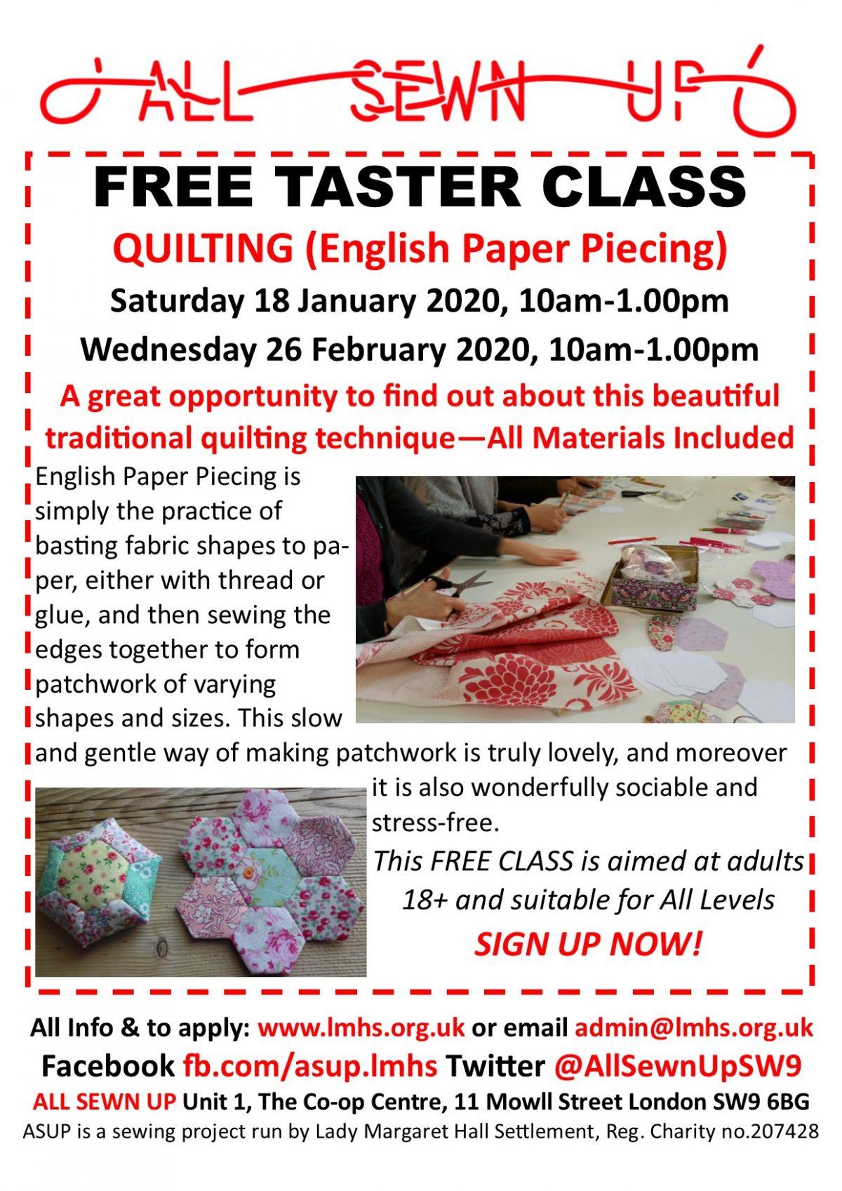 FREE QUILTING TASTER CLASS Saturday 18 Jan 2020