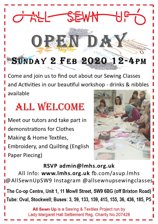 OPEN DAY Sunday 2 Feb 2020, 12-4pm
